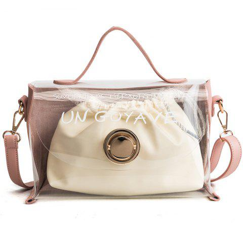 DA16003Women'S Transparent Zoning Composite Handbag - PINK