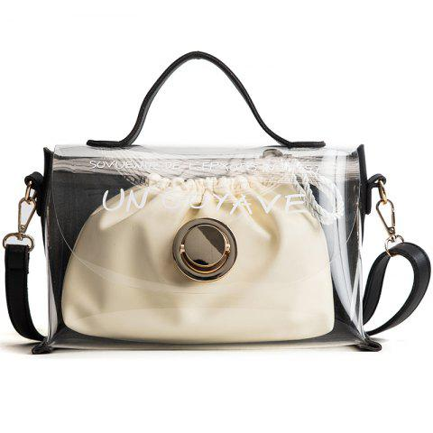 DA16003Women'S Transparent Zoning Composite Handbag - BLACK