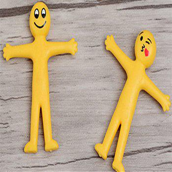 Creative Soft Glue Small Yellow Person Smiling Face Can Stretch Out Toy 2PCS - YELLOW