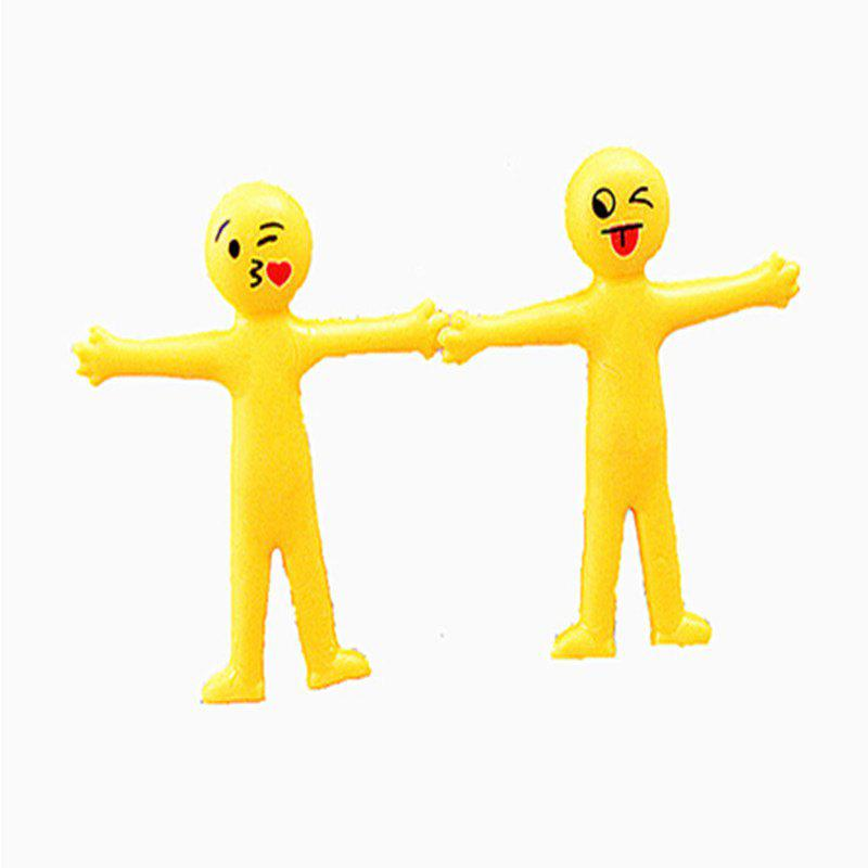 Creative Soft Glue Small Yellow Person Smiling Face Can Stretch Out Toy 2PCS creative simulation plush soft fox naruto toy polyethylene