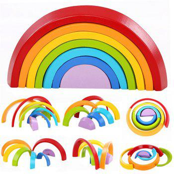 Wooden Rainbow Stacking Game Learning Toy Geometry Building Blocks Educational Gift - multicolor A