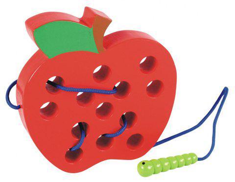 Wooden Learning Early Development Baby Toy Lacing Threading Educational - RED