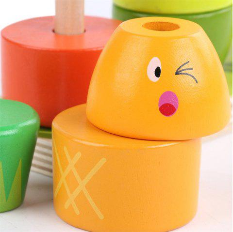 Wooden Fruit Shape Color Sorter Stacking Block Educational Toy for Baby Toddlers - multicolor A