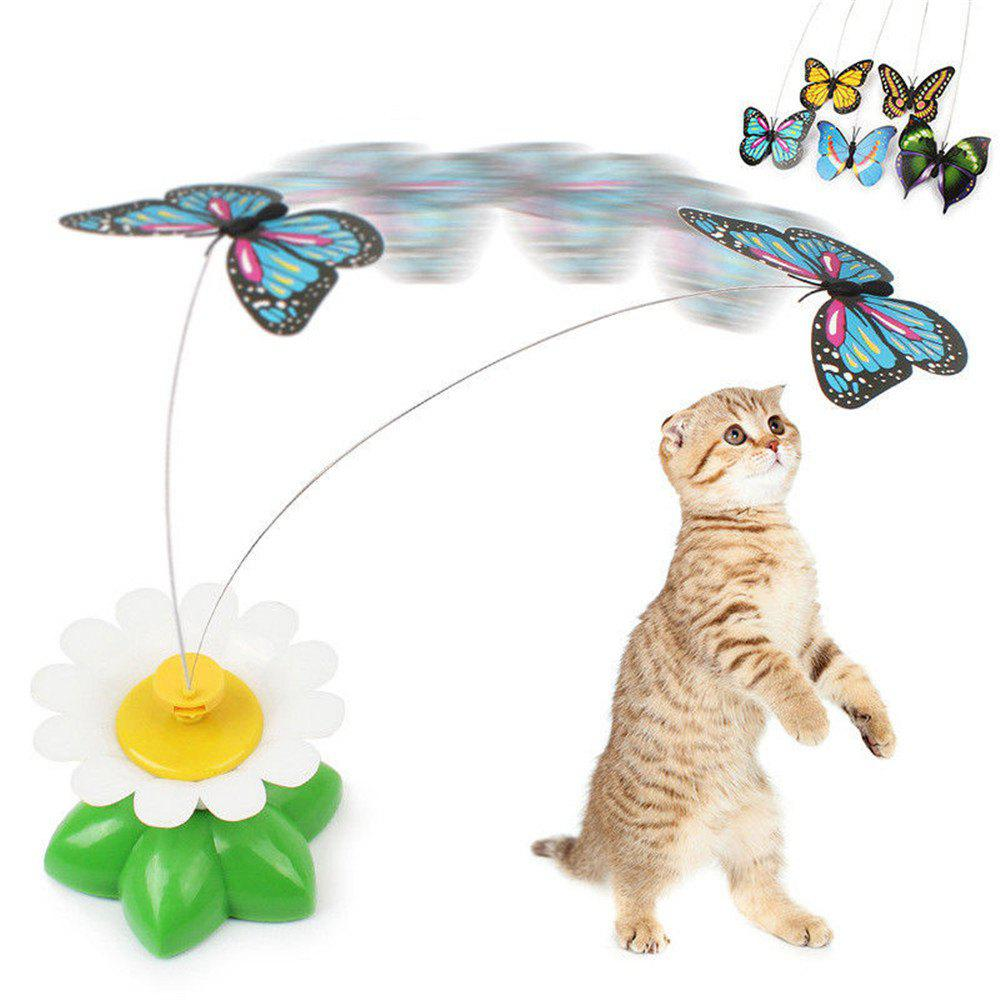 Kitten Electric Rotating Butterfly Bird Rod Wire Cat Toy Pattern Random plastic electric dancing butterfly around flower cat toy