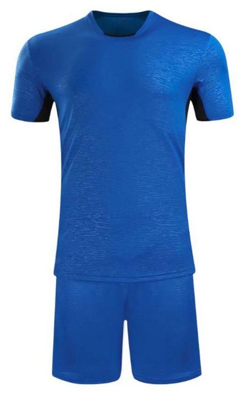 Soccer Uniform Men'S Match Training Wear Smooth Jersey Short-Sleeved Sports Suit - BLUE 2XL