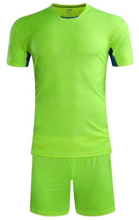 Soccer Uniform Men'S Match Training Wear Smooth Jersey Short-Sleeved Sports Suit - CHARTREUSE 2XL