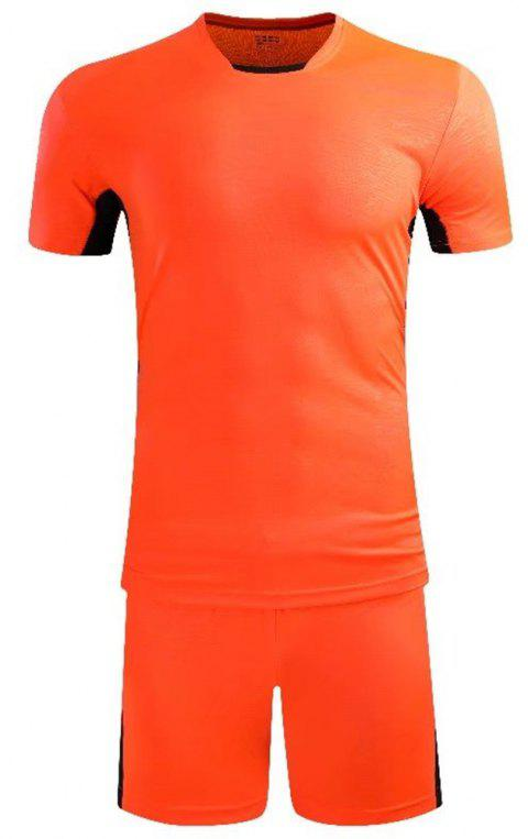 Soccer Uniform Men'S Match Training Wear Smooth Jersey Short-Sleeved Sports Suit - CONSTRUCTION CONE ORANGE L