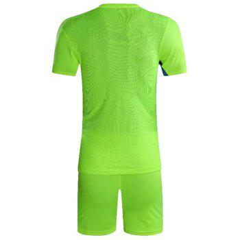 Soccer Uniform Men'S Match Training Wear Smooth Jersey Short-Sleeved Sports Suit - CHARTREUSE 3XL