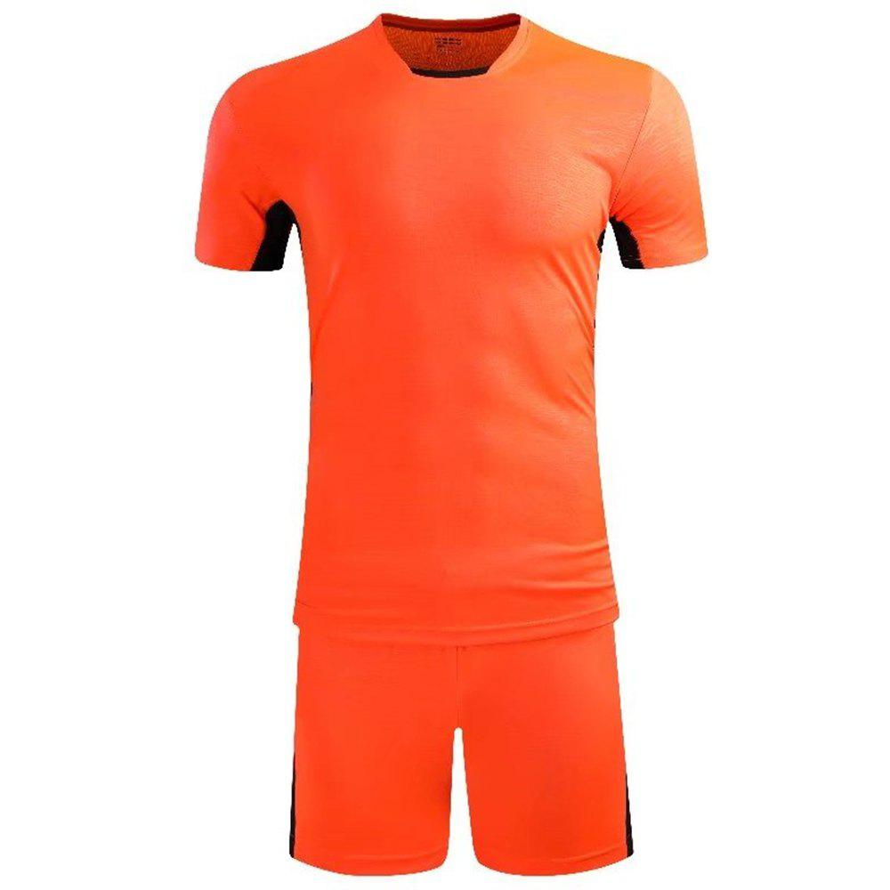 Soccer Uniform Men'S Match Training Wear Smooth Jersey Short-Sleeved Sports Suit - CONSTRUCTION CONE ORANGE 3XL