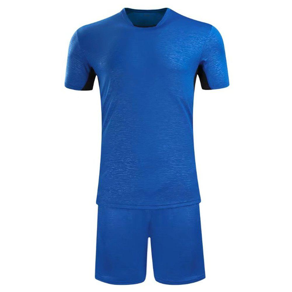 Soccer Uniform Men'S Match Training Wear Smooth Jersey Short-Sleeved Sports Suit - BLUE L