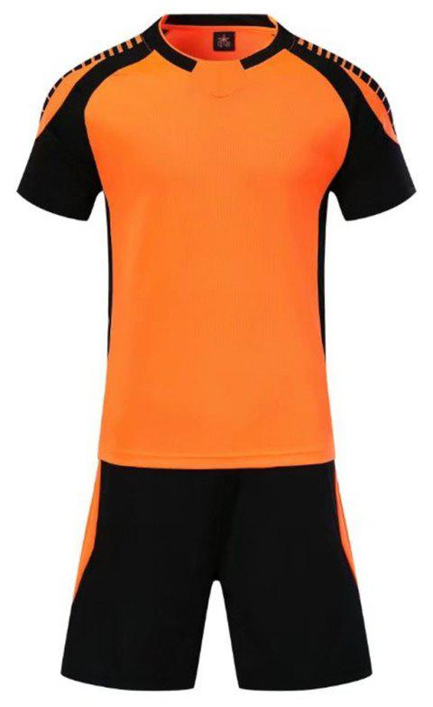 Smooth Jersey Soccer Uniform Team Training Short Sleeve Sports Suit - ORANGE 3XL