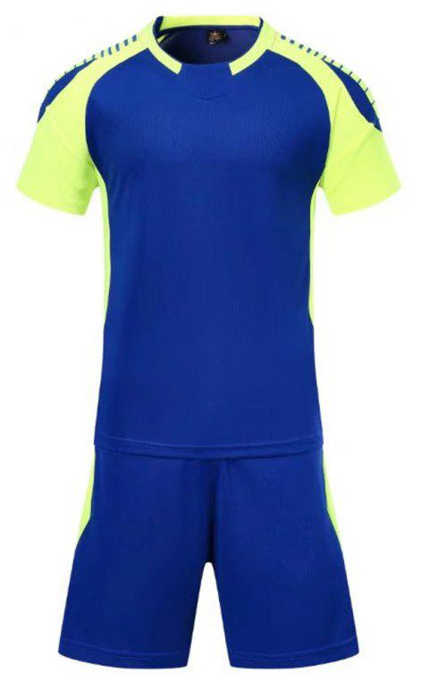 Smooth Jersey Soccer Uniform Team Training Short Sleeve Sports Suit - BLUE XL