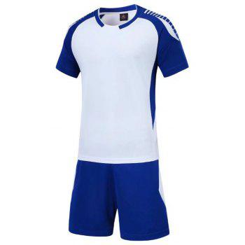 Smooth Jersey Soccer Uniform Team Training Short Sleeve Sports Suit - WHITE 2XL