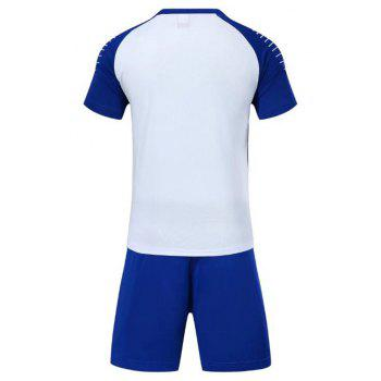 Smooth Jersey Soccer Uniform Team Training Short Sleeve Sports Suit - WHITE 3XL