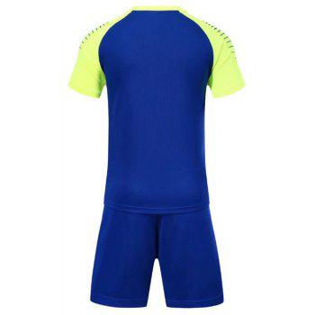 Smooth Jersey Soccer Uniform Team Training Short Sleeve Sports Suit - BLUE 2XL