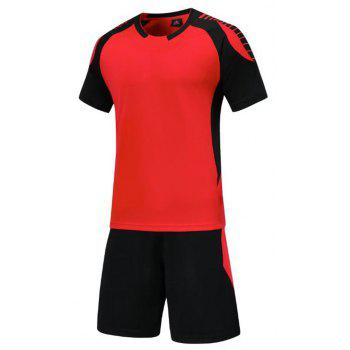 Smooth Jersey Soccer Uniform Team Training Short Sleeve Sports Suit - RED XL