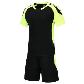 Smooth Jersey Soccer Uniform Team Training Short Sleeve Sports Suit - BLACK XL