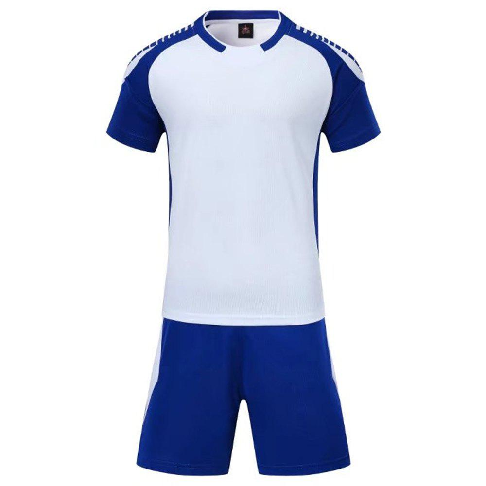 Smooth Jersey Soccer Uniform Team Training Short Sleeve Sports Suit - WHITE L