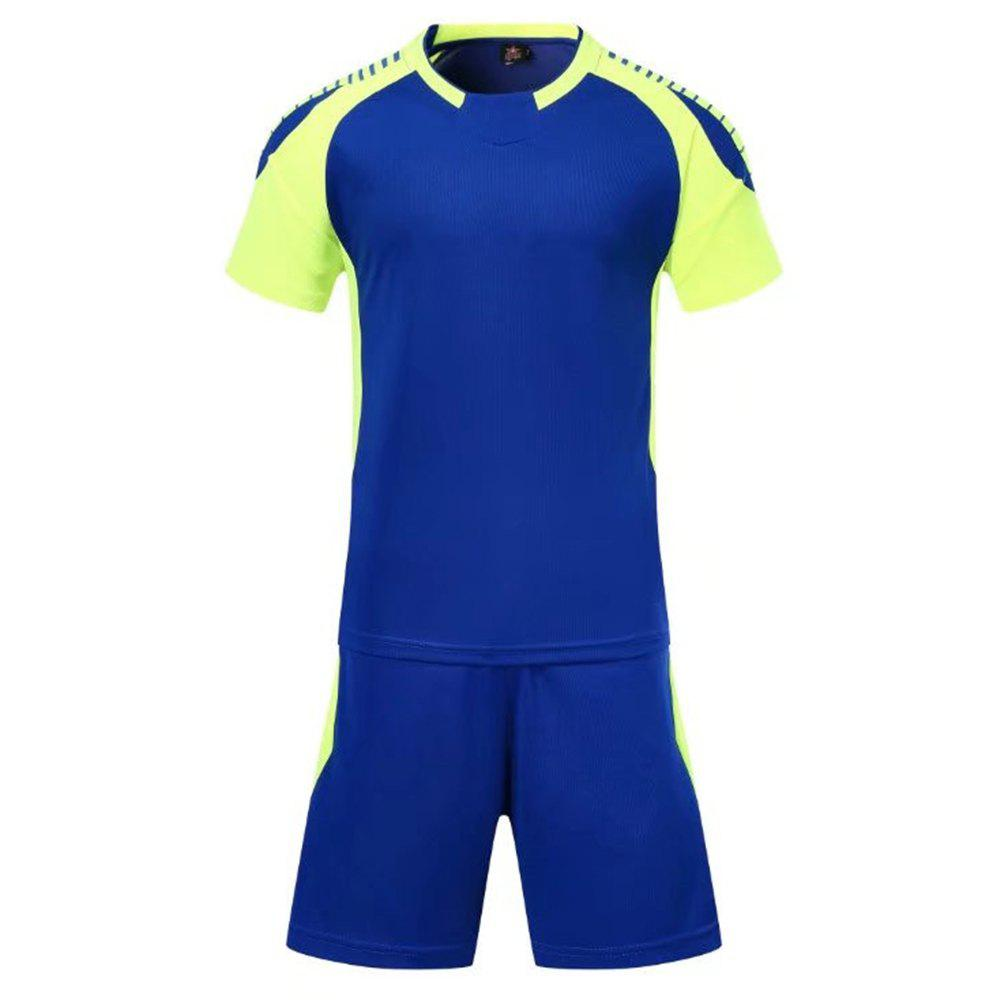 Smooth Jersey Soccer Uniform Team Training Short Sleeve Sports Suit - BLUE M