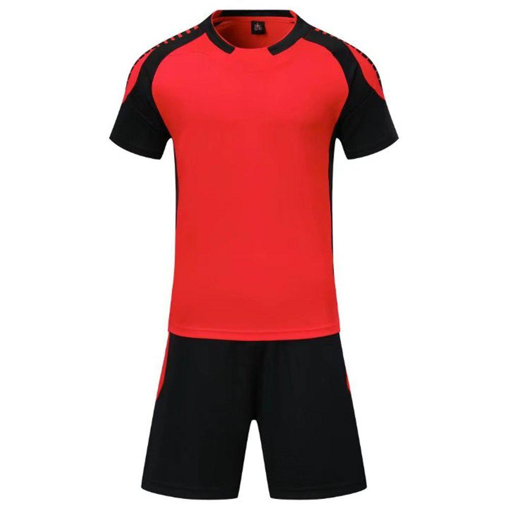 Smooth Jersey Soccer Uniform Team Training Short Sleeve Sports Suit - RED 3XL