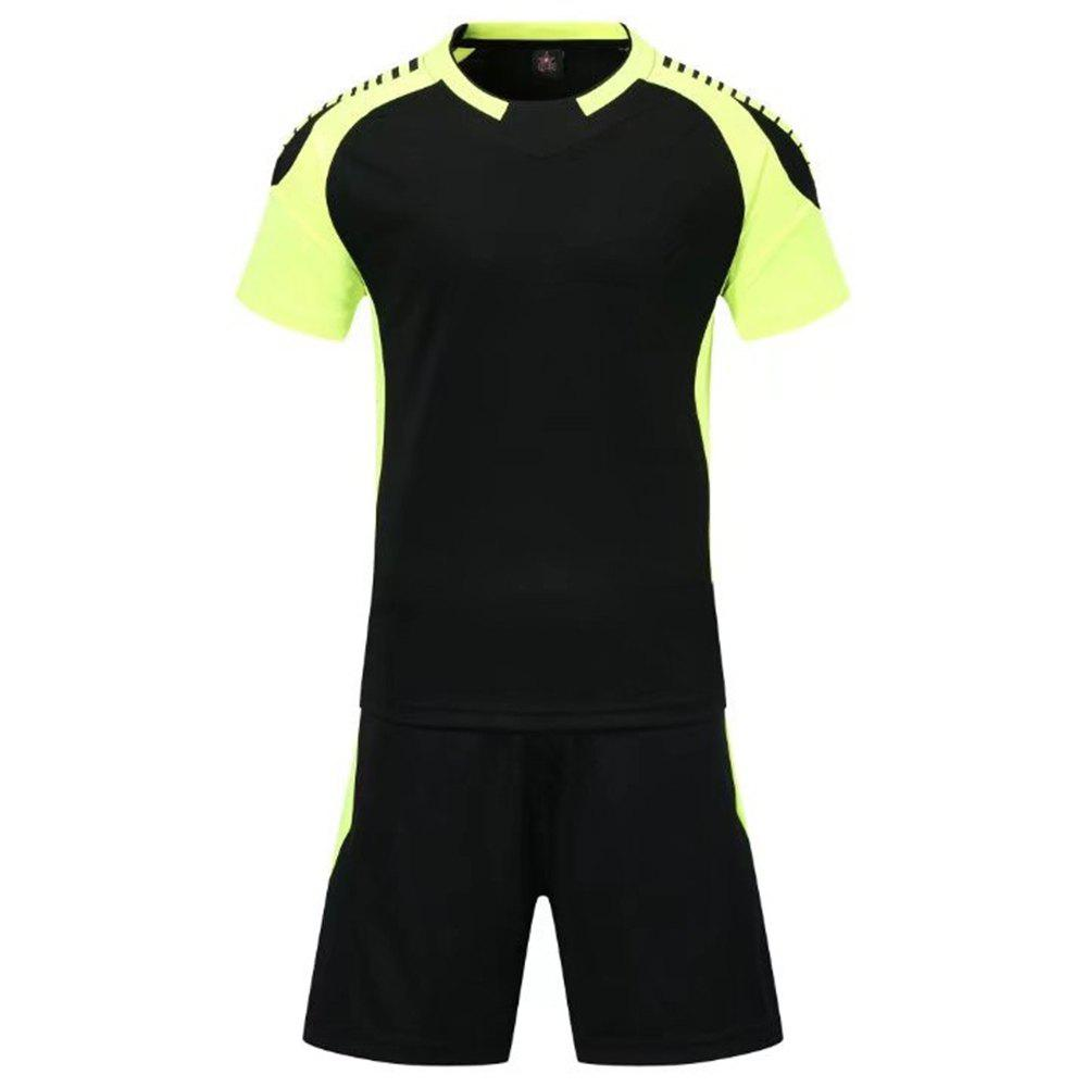 Smooth Jersey Soccer Uniform Team Training Short Sleeve Sports Suit - BLACK L