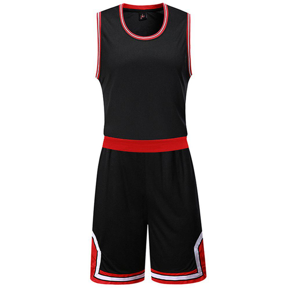 Basketball Uniform Men'S Breathes Training Vest Competition Team Sports Suit - BLACK 3XL
