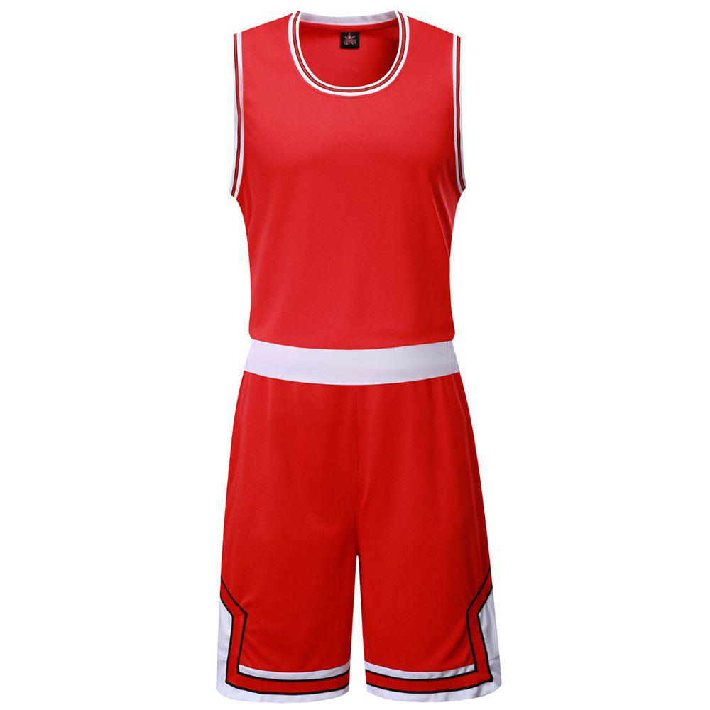 Basketball Uniform Men'S Breathes Training Vest Competition Team Sports Suit - RED 5XL