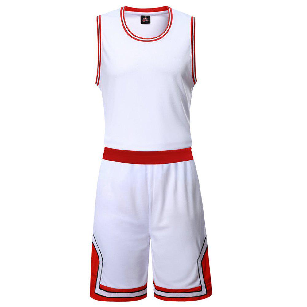 Basketball Uniform Men'S Breathes Training Vest Competition Team Sports Suit - WHITE XL