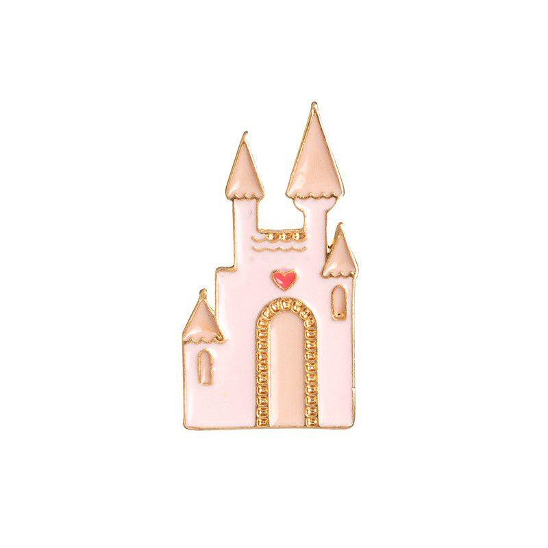Fashion Accessories Pink Girl Dream Castle Cartoon Brooch - PINK BUBBLEGUM 2.9X1.5CM