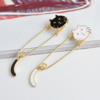Fashion Creativity Personality Cute Creative Cat Tail Brooch Big Pin - BLACK 7X2CM