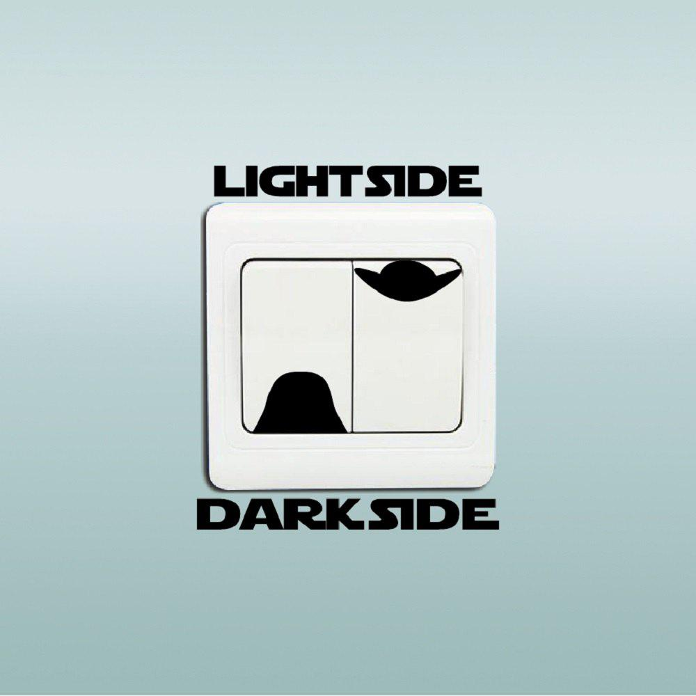 Dark Side Light Switch Sticker Cartoon Vinyl Decal Kids Room Home Decor - BLACK 7.9X8.1CM
