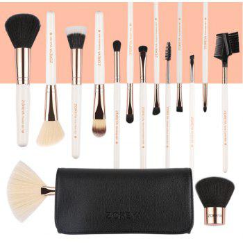 15 White Classic Makeup Brushes - WHITE