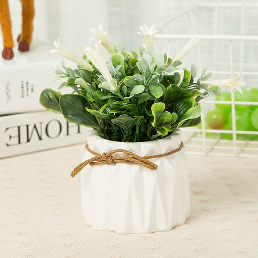 WX-B26 Pastoral Home Decoration Ornament Morning Glory Potted Plant - WHITE