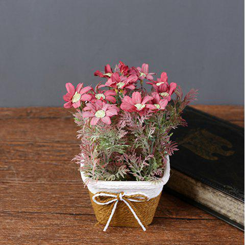 WX-C32 Rope Woven Square Bowl Potted Plant - RED