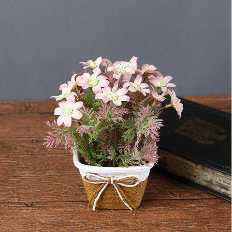 WX-C32 Rope Woven Square Bowl Potted Plant - PINK