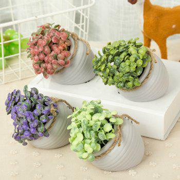 WX-C32-1726 Home Garden Decoration Ceramic Green Leaf Pot - WHITE