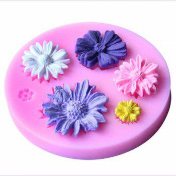 DIY Daisy Flower Silicone Mold Fondant Cake Cookie Biscuit Sugarcraft Tool - PINK