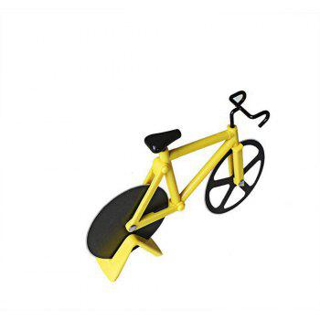 Stainless Steel Bicycle Pizza Cutter Slicer Wheel Kitchen Tool - YELLOW