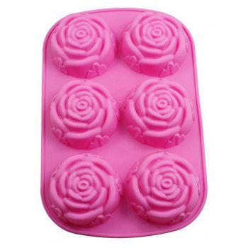 6 Rose Handmade Soap Mold Silicone Cake Chocolate Jelly Pudding Ice Pan - HOT PINK