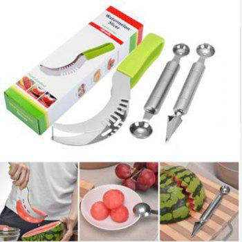 3pcs Watermelon Slicer Double Head Melon Baller Scoop Fruit Flower Carving Knife - GREEN YELLOW