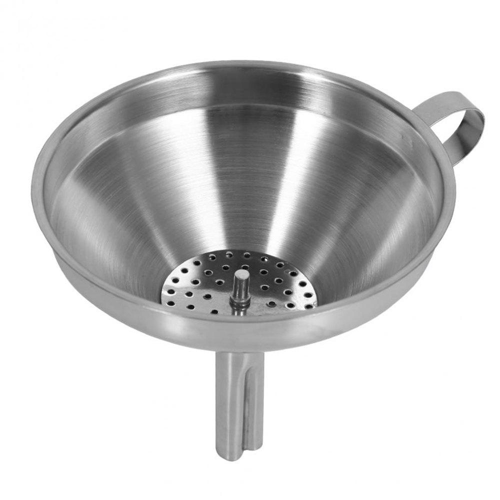 12CM Stainless Steel Funnel Transferring of Liquid Fluid Dry Ingredients Powder - SILVER