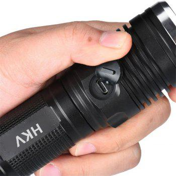 HKV USB Rechargeable 4 Modes Led Flashlights Chargeable Waterproof Torch - COOL WHITE
