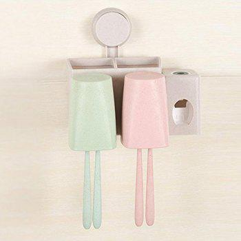 Wheat Toothbrush Rack Sucker Rinse Suit Two Family Home Toothpaste Extruder - PINK