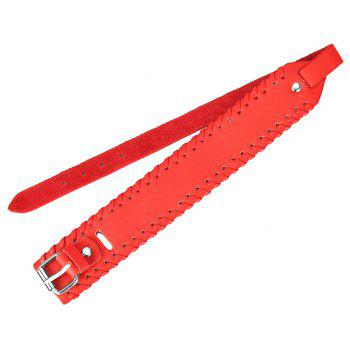 Personality Fashion Cowhide Double Deck Bracelet - RED