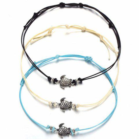 Ancient Silver Three - Colored Wax Rope Turtle Beach Chain Bracelet - multicolor