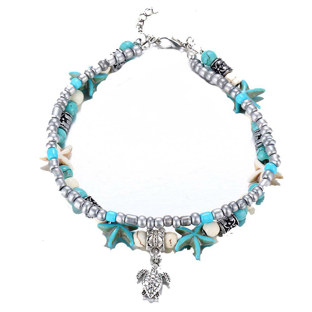 Fashion Double Conch Starfish Yoga Beach Turtle Anklets Chain faux pearl starfish star charm beach anklets