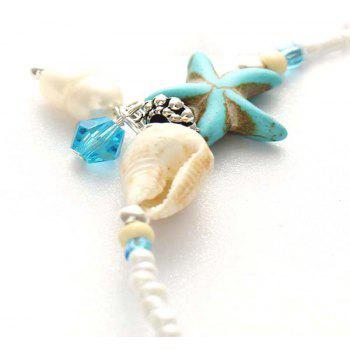Beach Fashion Conch Starfish Bead Pendant Ankle Chain - CELESTE