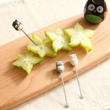 Cute Owl Shaped Stainless Steel Fruit Fork and Holder - multicolor