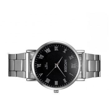 Migeer Fashion Luxury Stainless Steel Quartz Gift Business Army Watch - BLACK