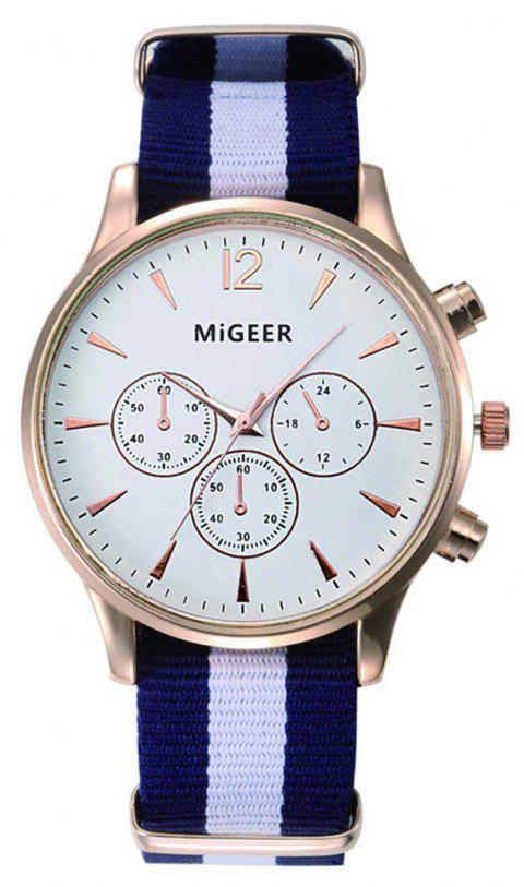 MiGEER Mens Fashion Canvas Analog Quartz Watch - BLACK